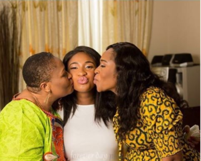 Tonto Dikeh Churchill with her mother-in-law (R) and aunt-in-law (L) (instagram)