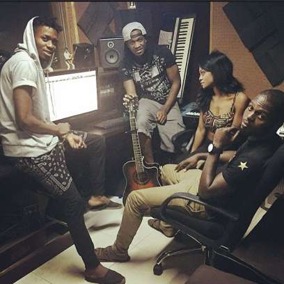 Paul Okoye, Muno, and Lucy at the studio. (Instagram)