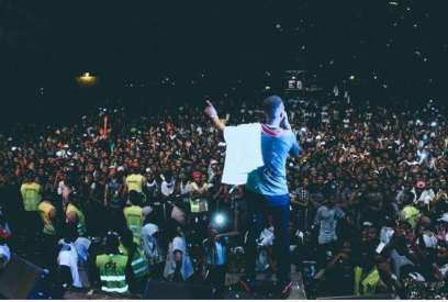 Wizkid, during a live stage performance in Cameroon