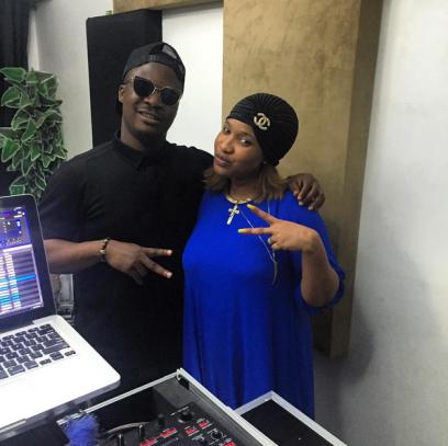 Jaywon, Tonto Dikeh-Churchill, in the studio (instagram)